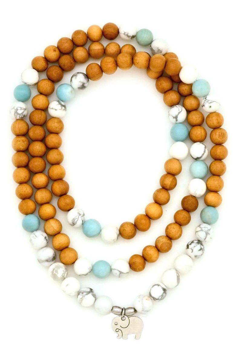 Peaceful Elephant Prayer Beads - howlite elephant prayer beads