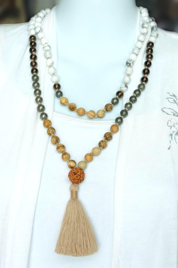 howlite unity mala necklace doubled