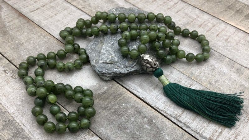 jade mala with elephant guru bead