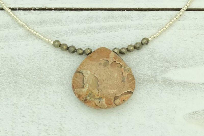 jasper pyrite necklace
