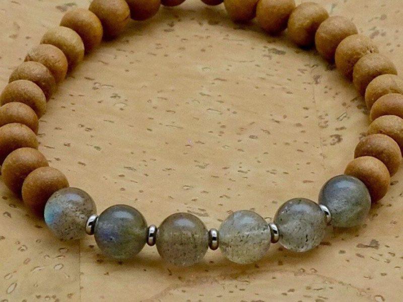 Labradorite Sandalwood Bracelet - labradorite bracelet silver spacers