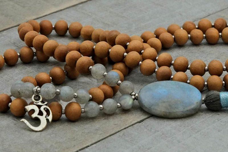 labradorite sandalwood om prayer beads