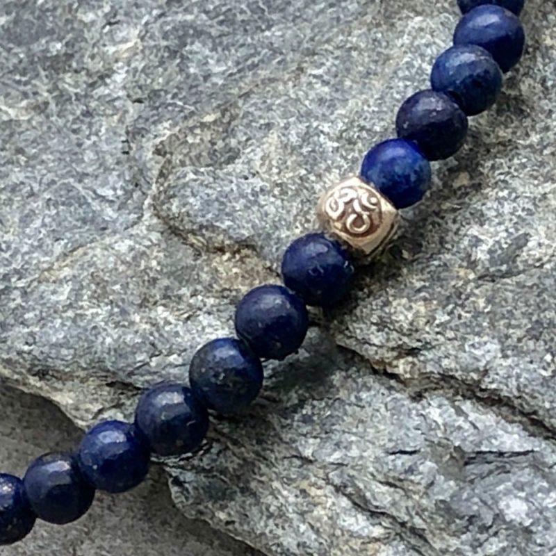 lapis om silver 4mm stretch bracelet