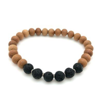 Bracelets & Wrist Malas - lava sandalwood bracelet