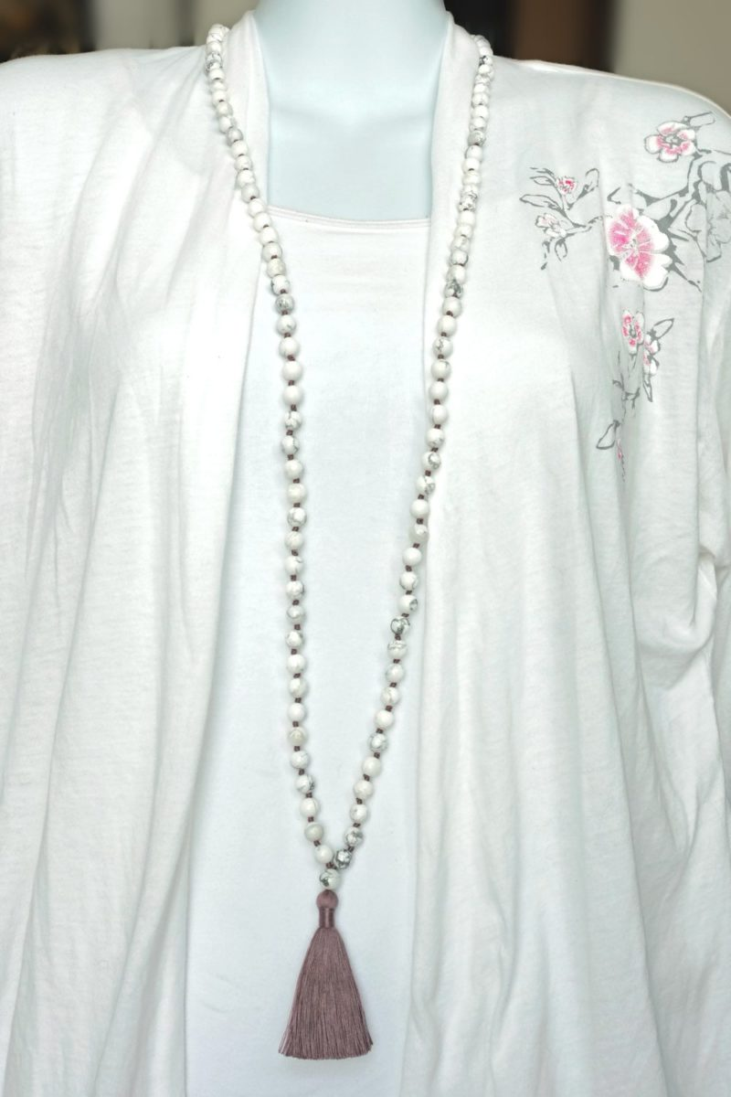 mauve howlite mala necklace
