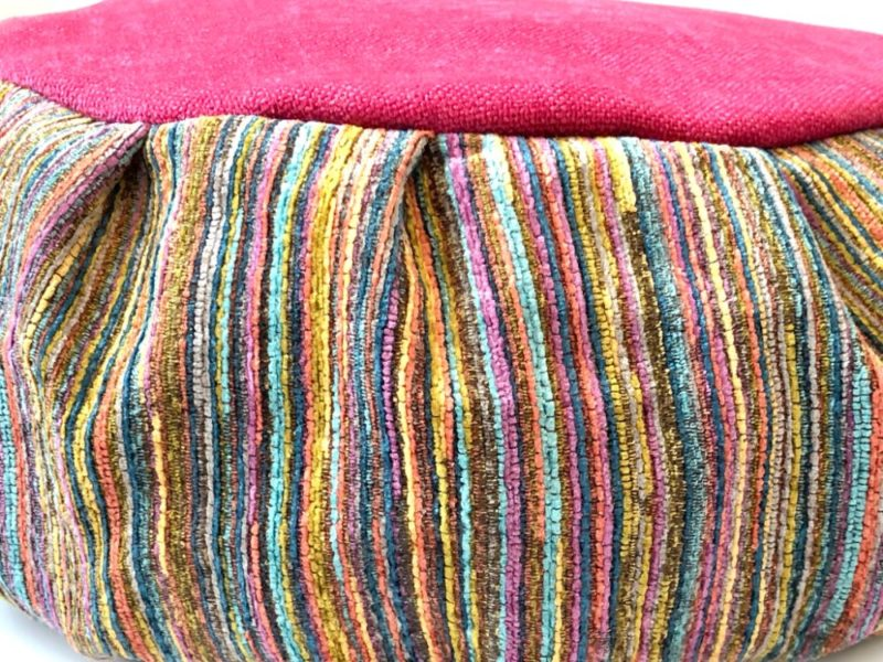 Rainbow Meditation Cushion - meditation cushion pink stripes closeup of side