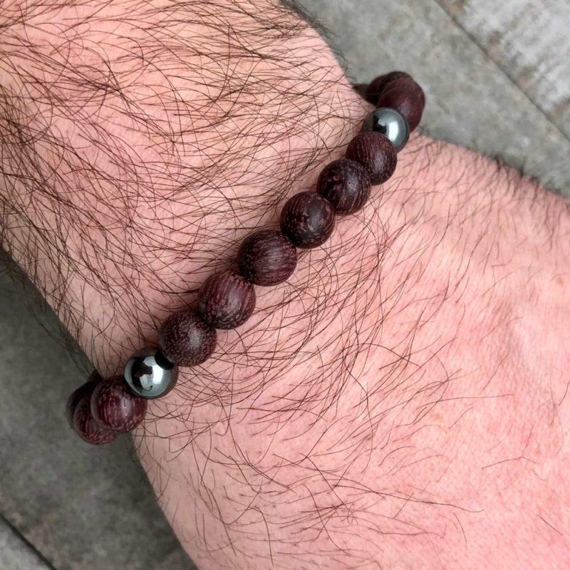 mens bracelet wood hematite