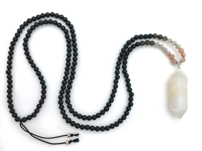 moonstone point beaded necklace