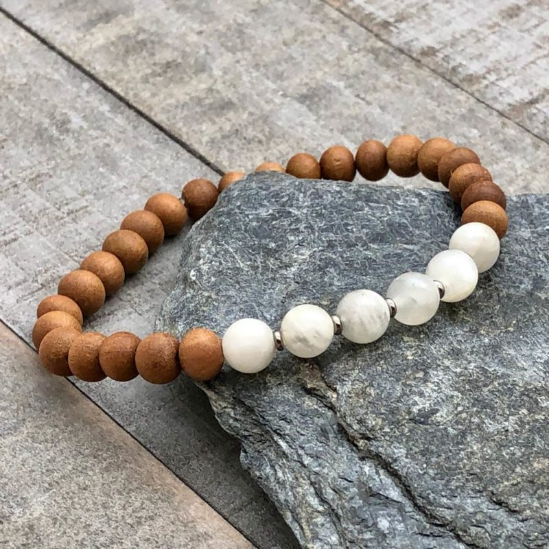 moonstone sandalwood stretch bracelet