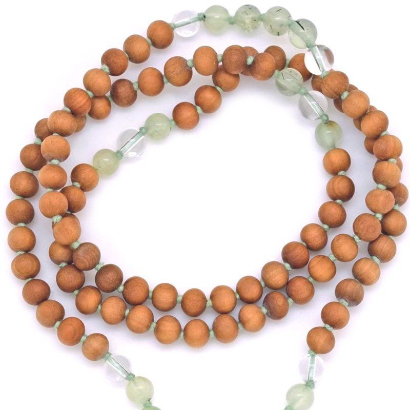 prehnite quartz sandalwood mala beads