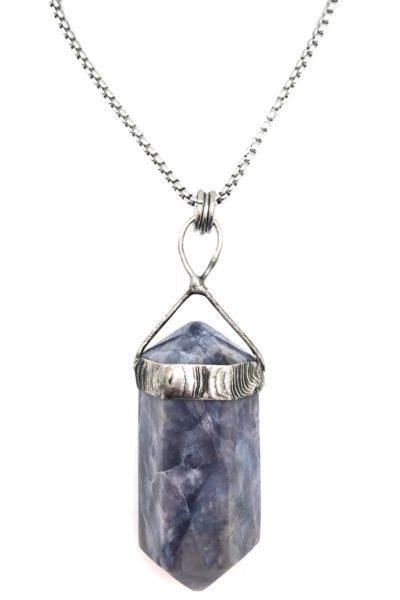 purple chalcedony point pendant