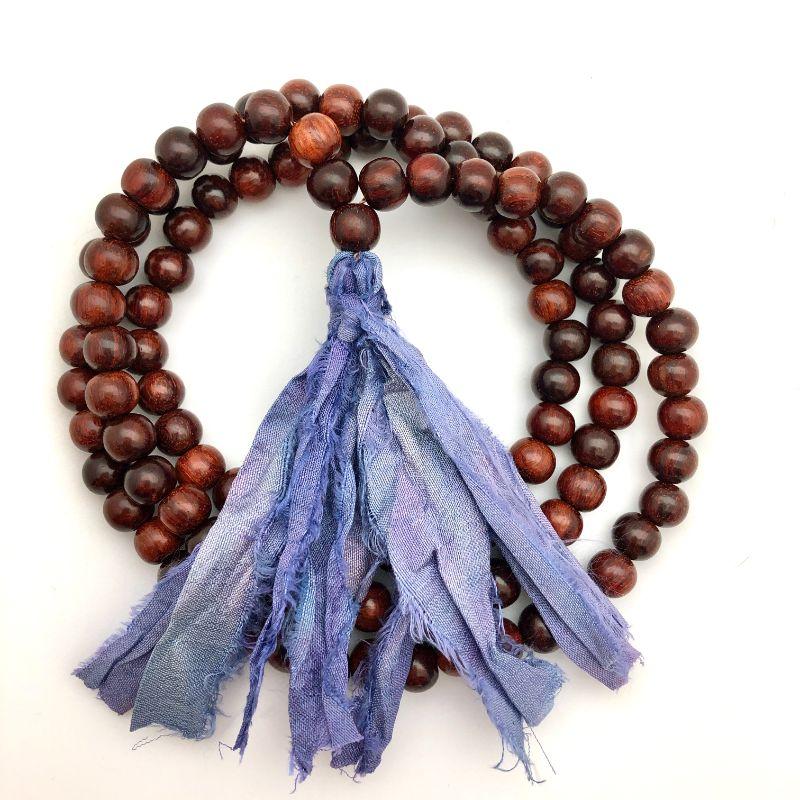 purple sari tassel mala