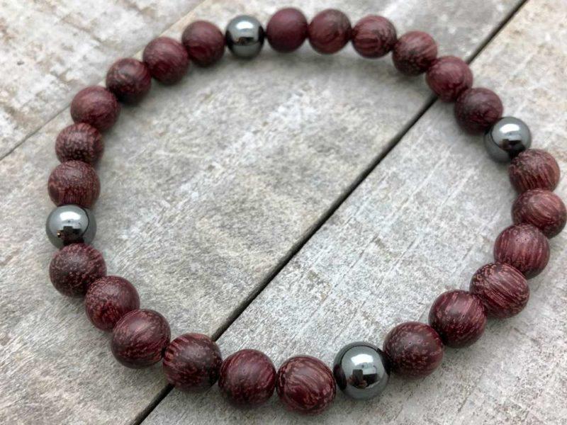 purple wood hematite bracelet