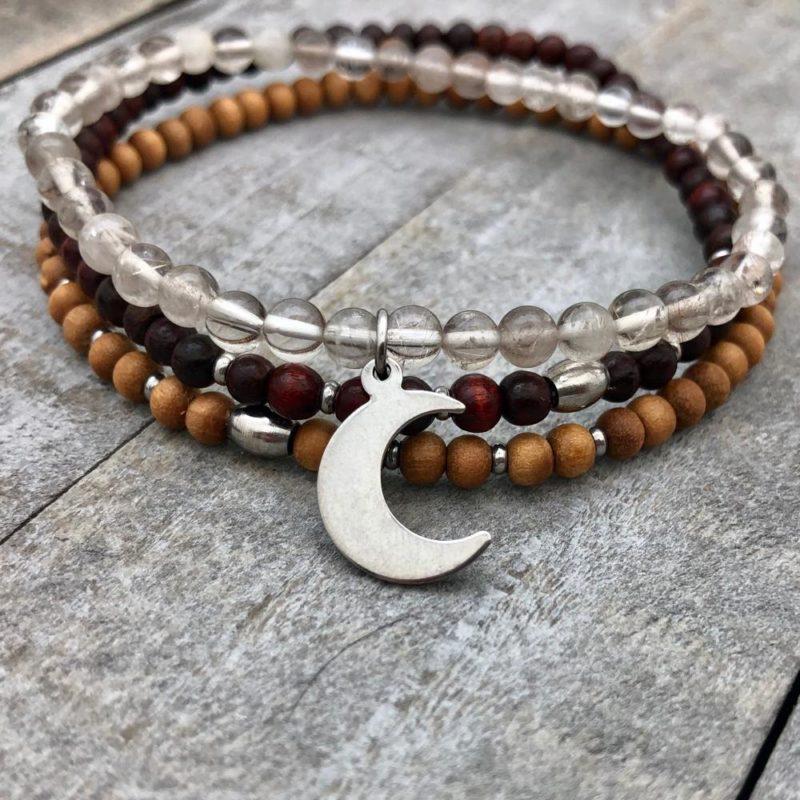 quartz crescent bracelet stack