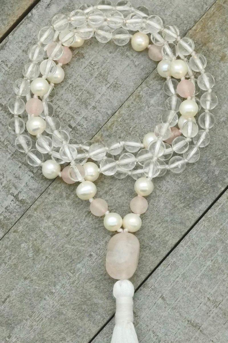 quartz pearl rose mala