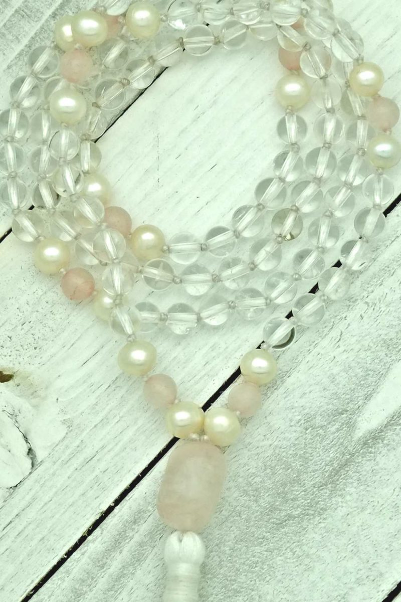 quartz rose pearl maha mala
