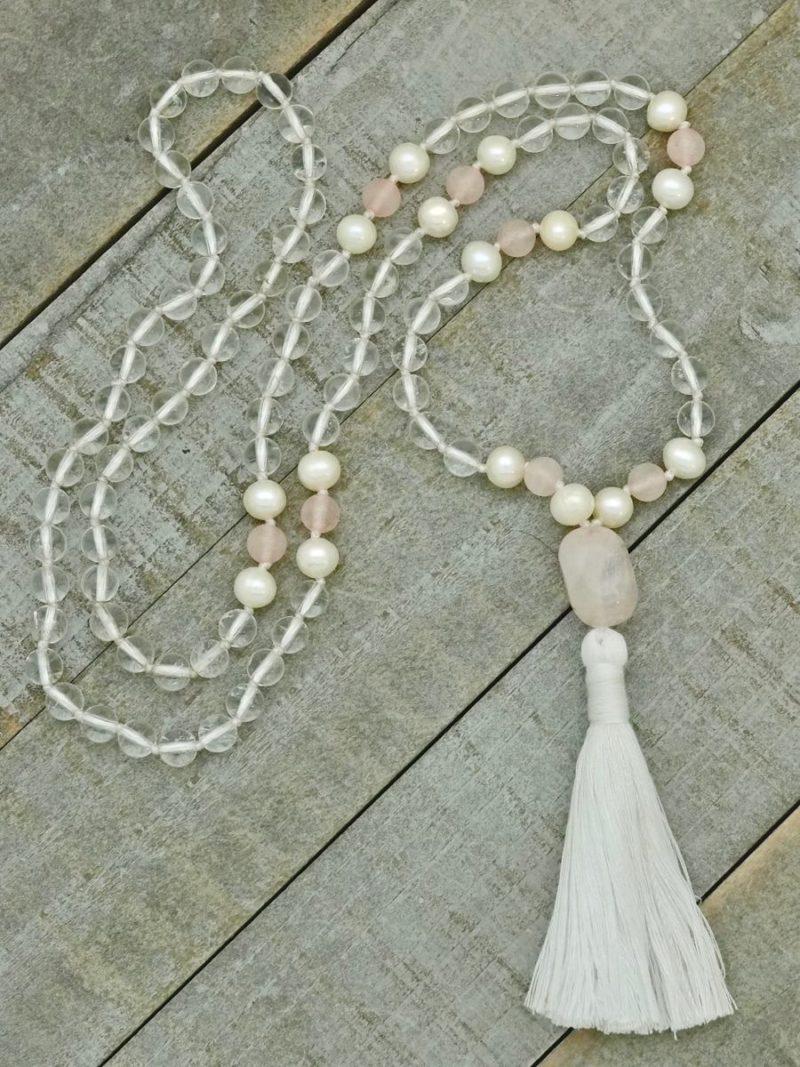 quartz rose pearl mala