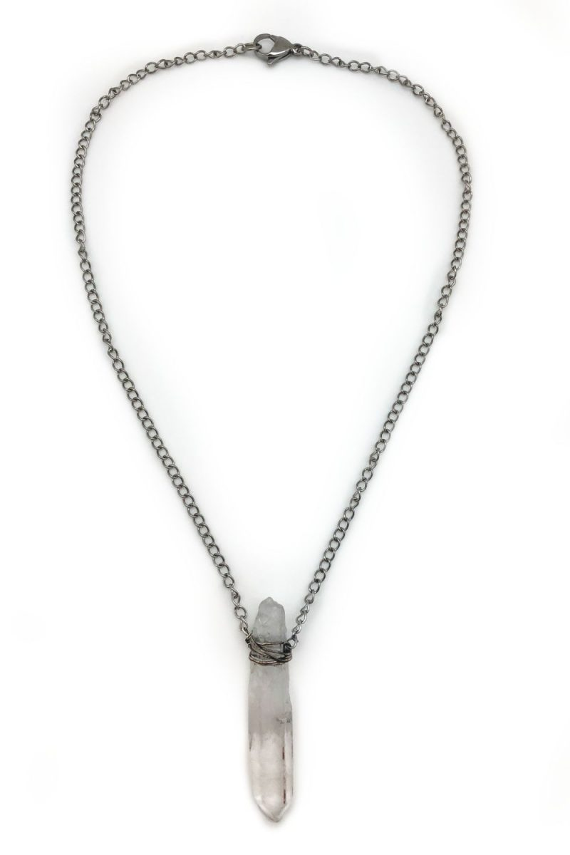 raw crystal necklace steel chain