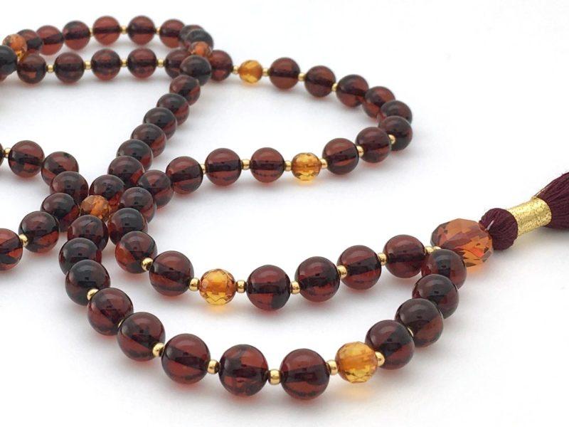 Red Amber Mala - red amber mala w gold 2