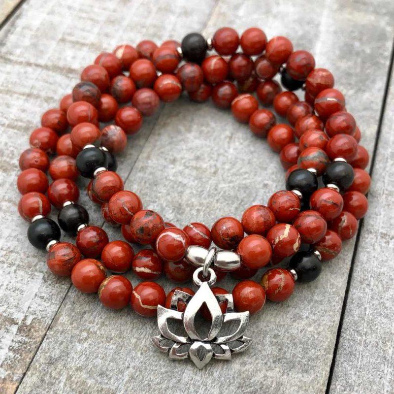 red jasper lotus wrap bracelet