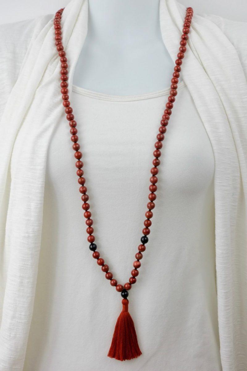 Transcendent Kali Mala - red jasper mala kali collection mannequin