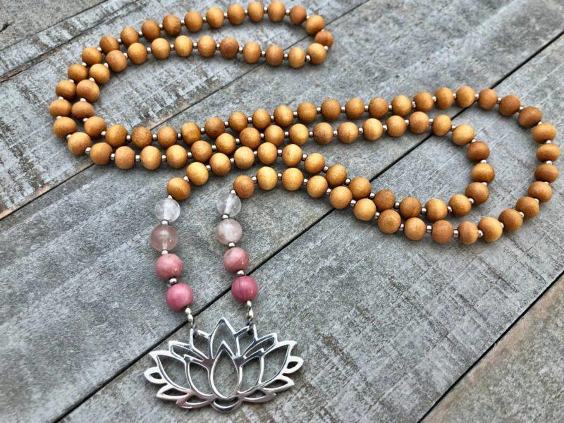 rhodonite rose quartz sandalwood silver lotus prayer bead necklace