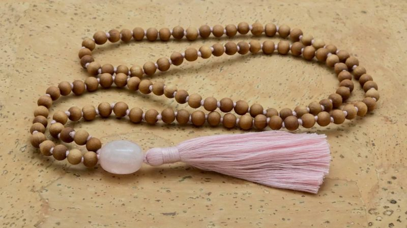 rose quartz guru sandalwood mala