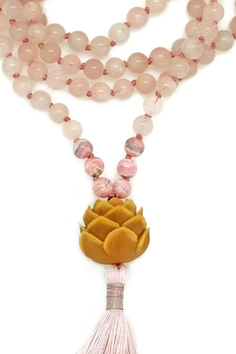 rose quartz lotus mala