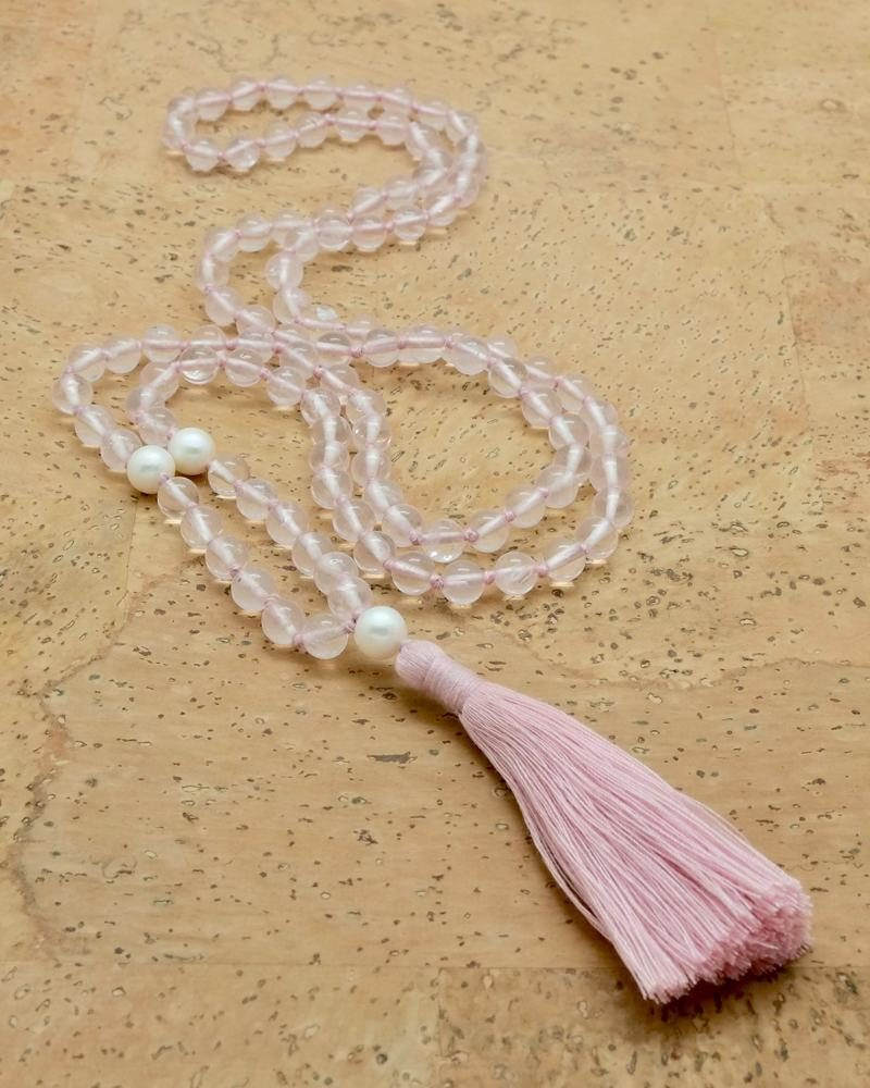 rose quartz pearl mala