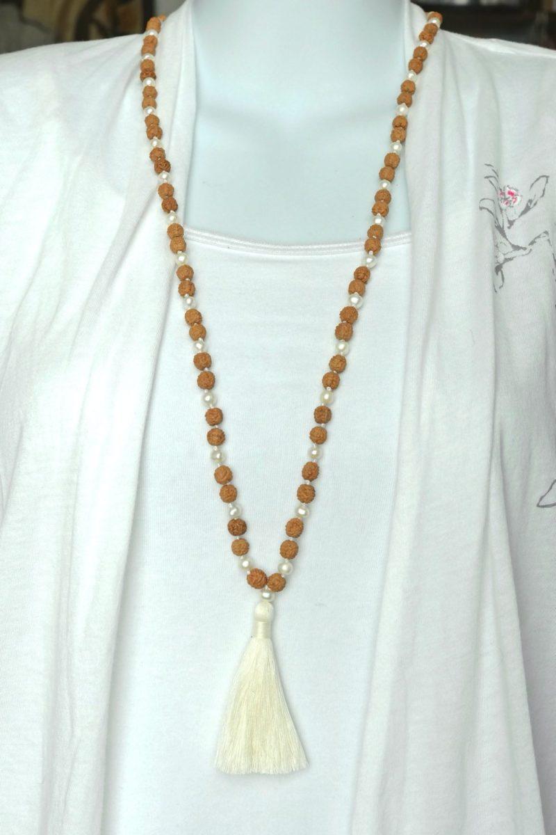 Rudraksha Pearl Mala - rudraksha pearl mala India wearing