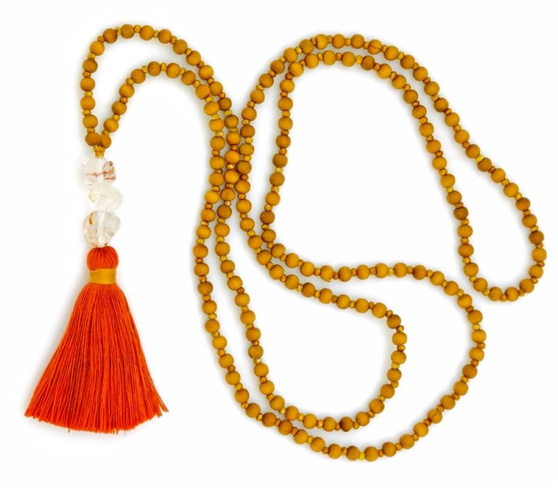 rutilated quartz sandalwood tassel necklace 2