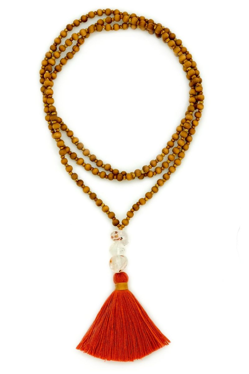 rutilated quartz sandalwood tassel necklace
