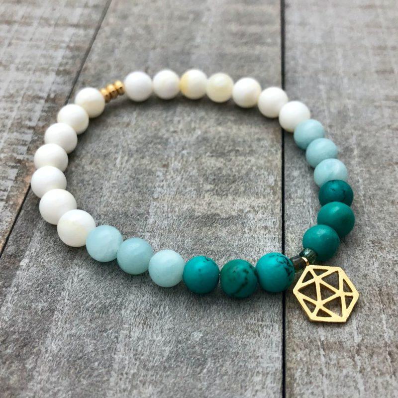 sacred geometry bracelet shell amazonite turquoise gold