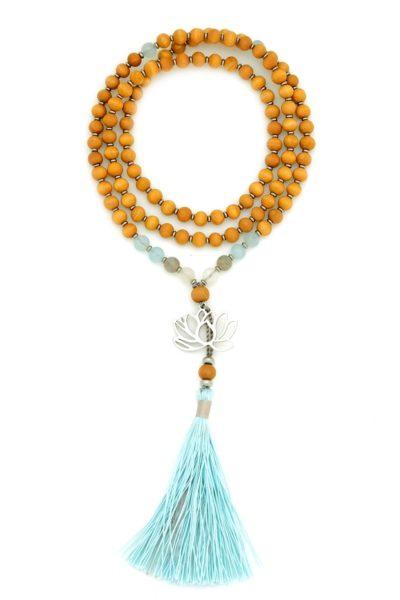 sandalwood blue lotus prayer beads