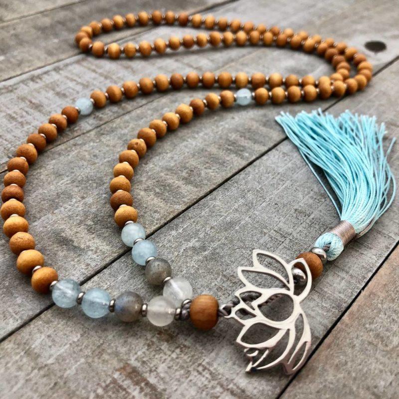 sandalwood blue steel lotus mala