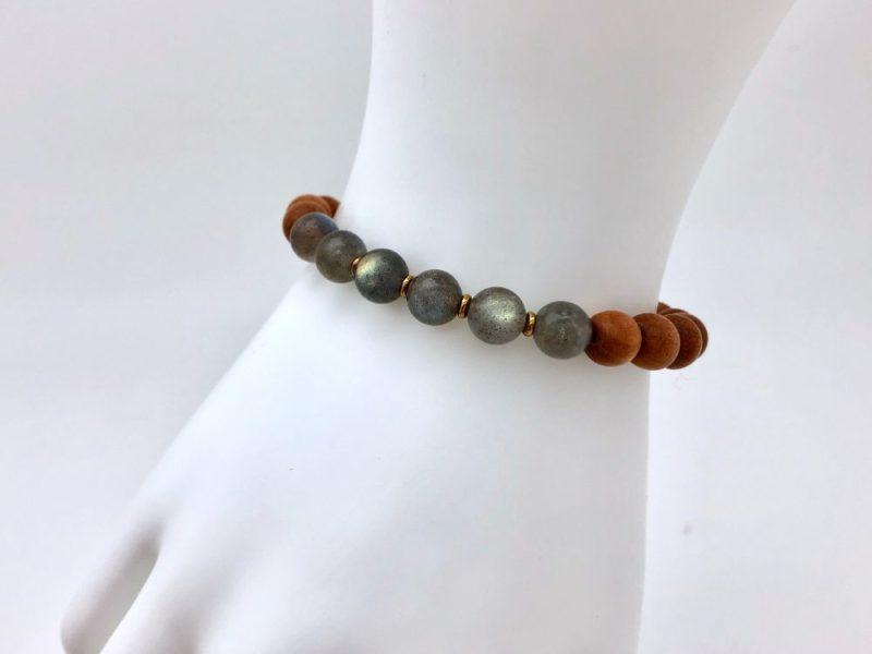 Labradorite Sandalwood Bracelet - sandalwood bracelet with labradorite