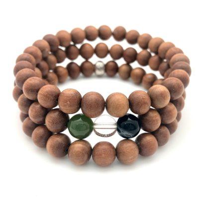 sandalwood gemstone bracelet stack