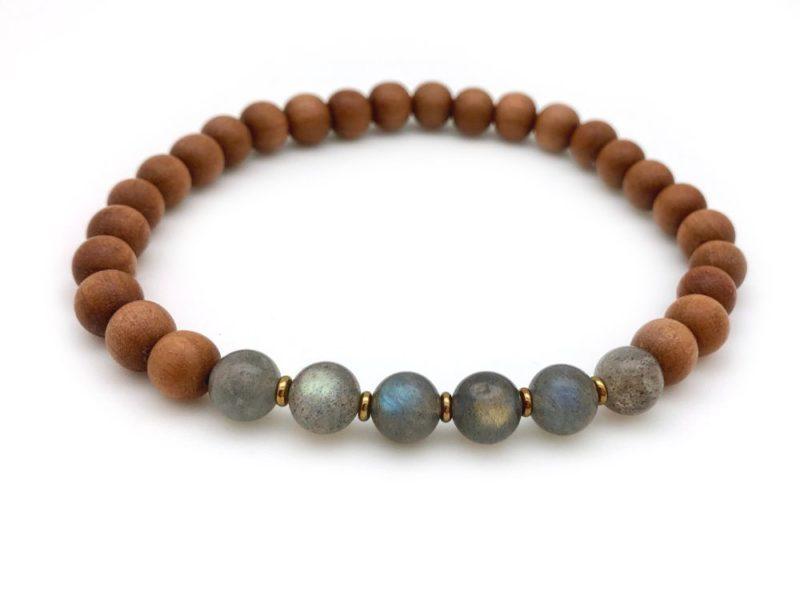 Labradorite Sandalwood Bracelet - sandalwood labradorite bracelet