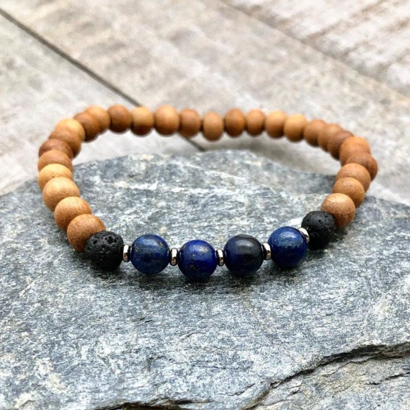sandalwood lapis lava bracelet
