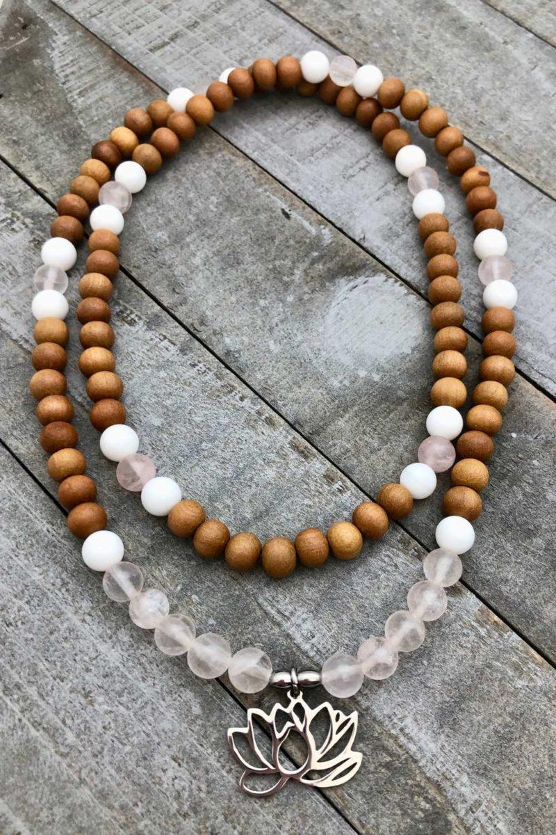 Lotus Love Prayer Beads - sandalwood lotus love mala