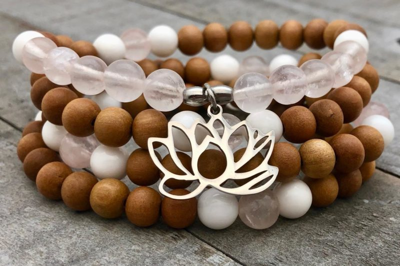 Lotus Love Prayer Beads - sandalwood lotus love wrap bracelet