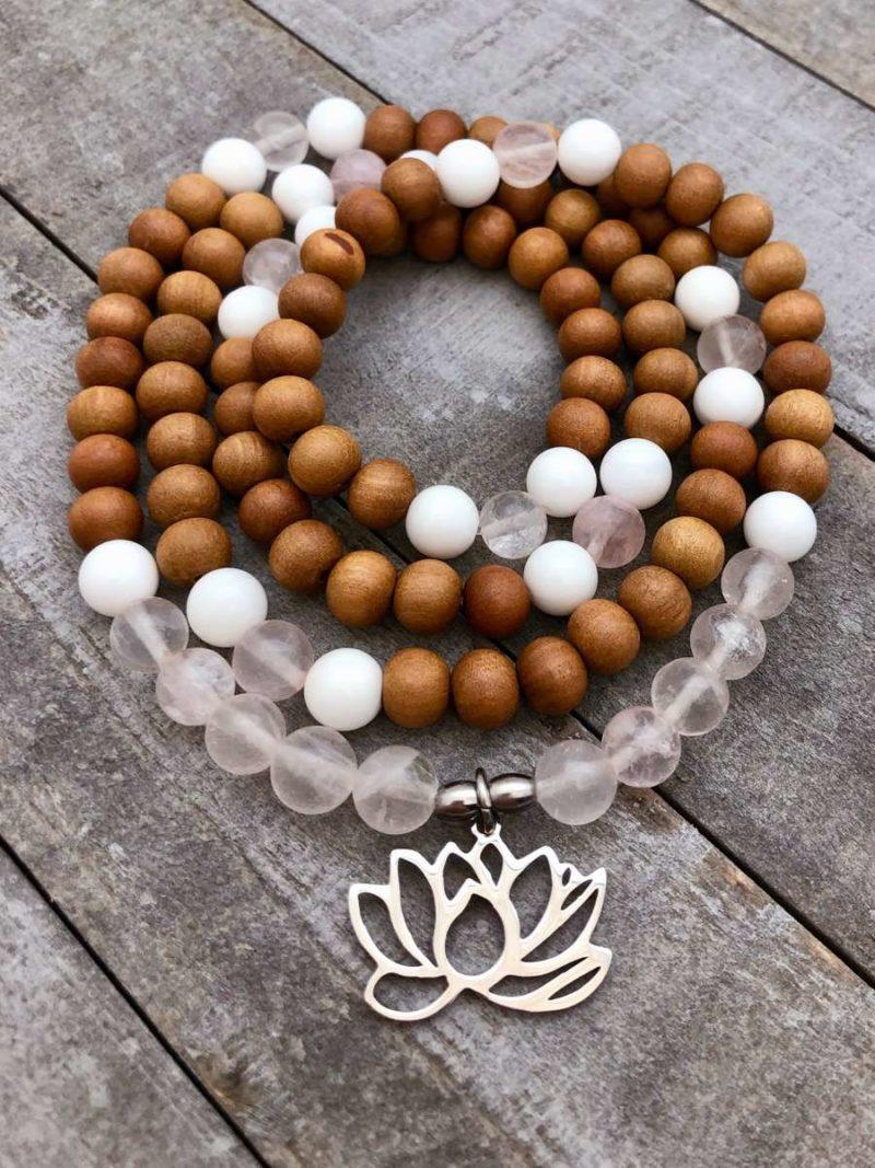 Lotus Love Prayer Beads - sandalwood rose quartz lotus mala