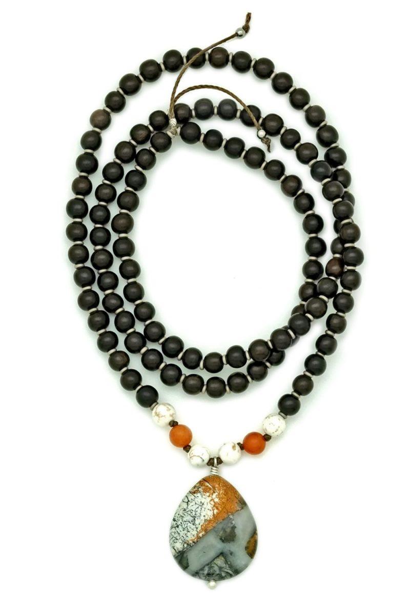 silver leaf jasper prayer necklace
