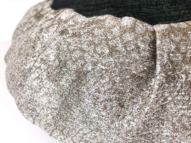 Silver Meditation Cushion - silver black cushion closeup