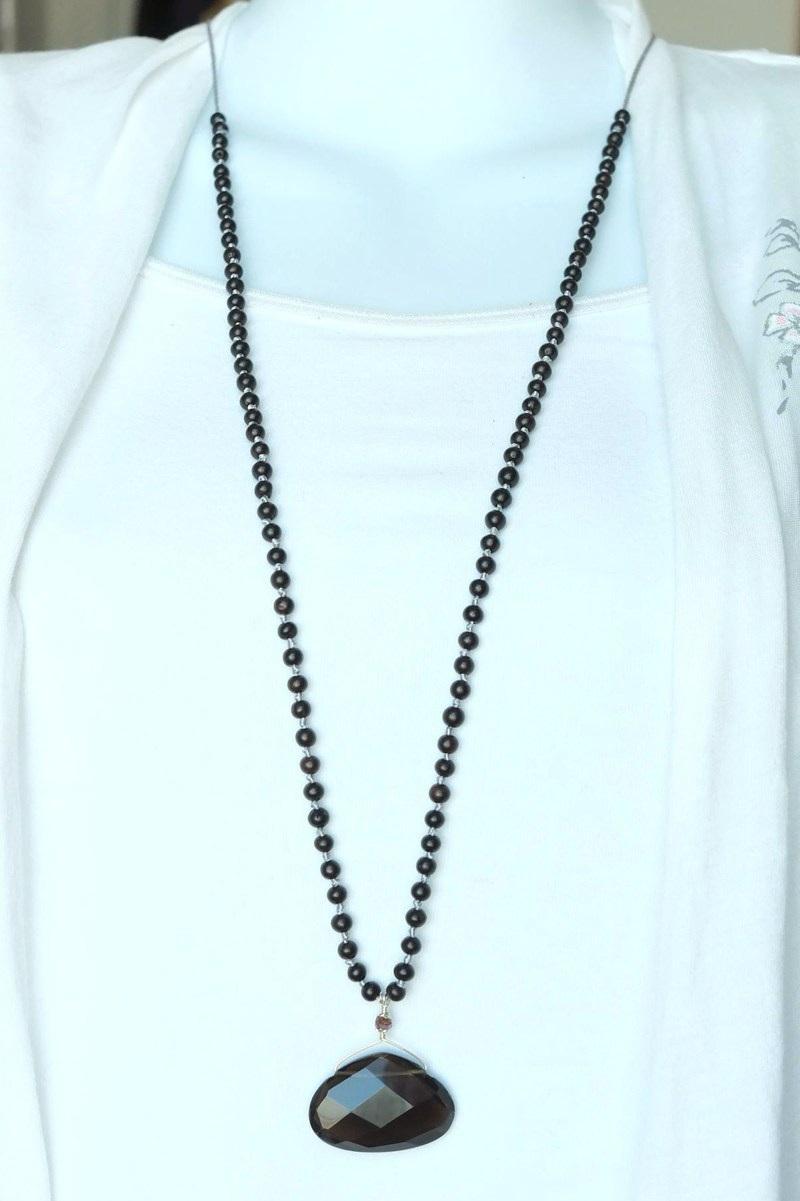 Smoky Quartz Necklace - smoky quartz necklace long