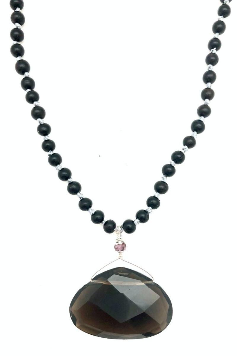 smoky quartz necklace on ebony beads