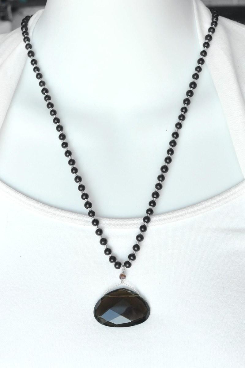Smoky Quartz Necklace - smoky quartz necklace short
