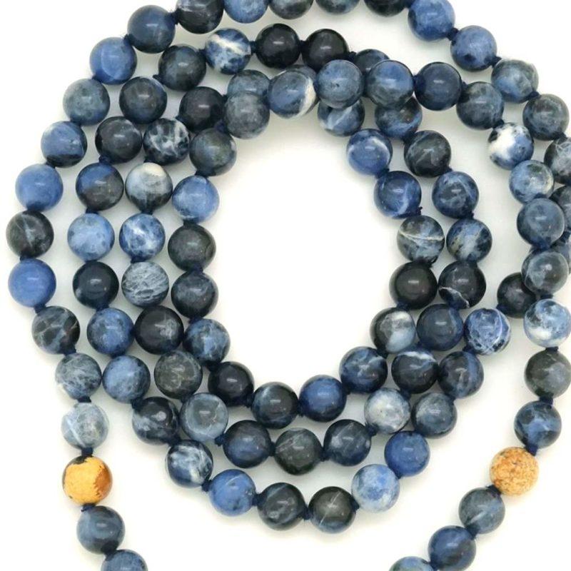 Enlightened Kali Mala - sodalite picture jasper beads