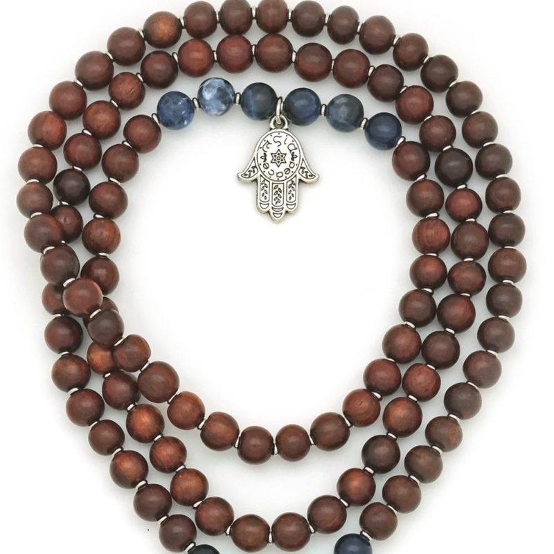 Sodalite Prayer Beads - sodalite rosewood hamsa prayer beads