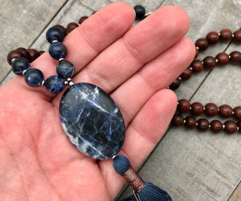 Sodalite Prayer Beads - sodalite rosewood in hand
